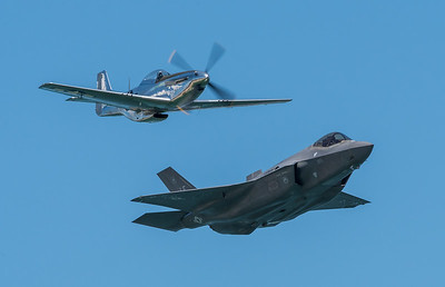 Heritage Flight with F-35 A Lightning and WW2 era P-51D Mustang