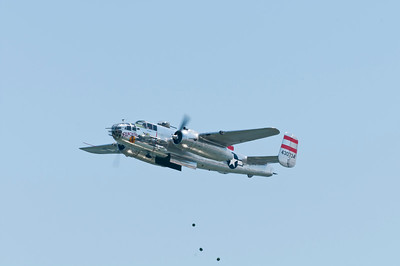 "B-25 ""Panchito"" dropping water melons on the water"