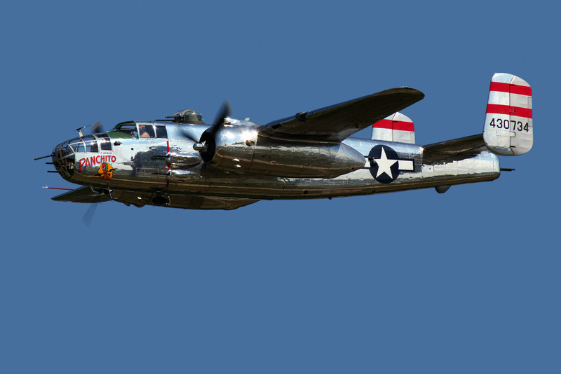 """Panchito"" a North American B-25 WWII bomber fying over Oshkosh."
