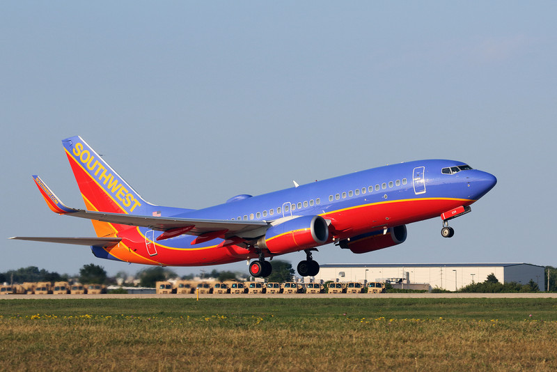 Southwest Boeing 737-700 departs from Oshkosh Wisconsin.