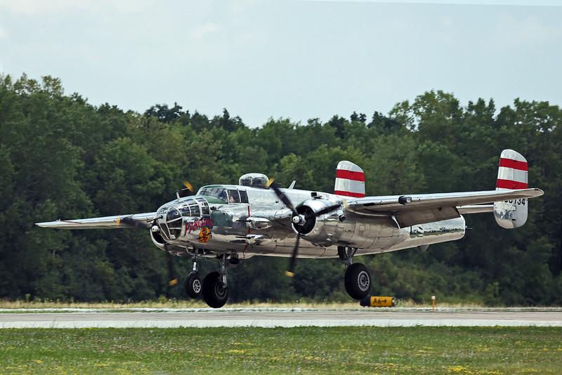 "North American B-25 bomber ""Panchito"" landing at Oshkosh, Wisconsin."