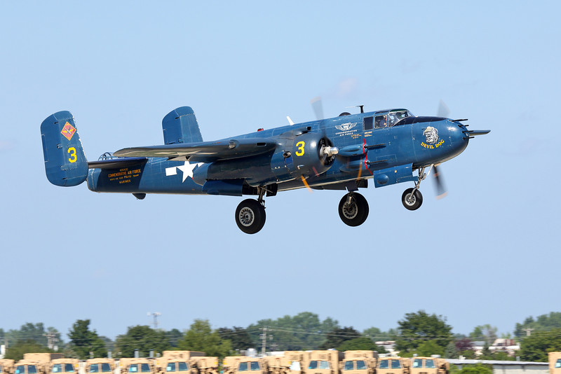 "North American;B-25/PBJ ""Devil Dog"" on take off from EAA Air Adventure 2012, Oshkosh Wisconsin"