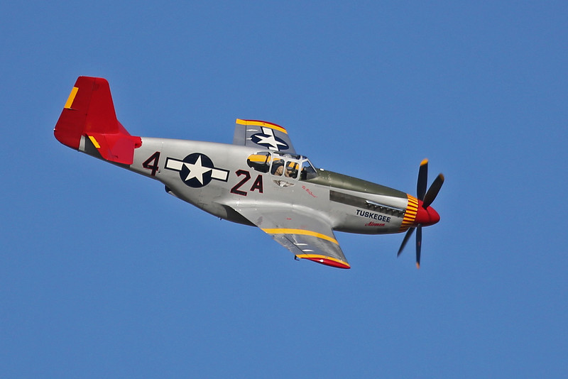 NORTH AMERICAN P-51C in Tuskegee colors. Seen at the EAA Air Adventure 2012 in Oshkosh, Wisconsin.