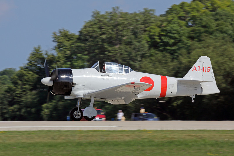 "An North American AT-6B ""Texan"" modified to look like a Japanese fighter for the Tora Tora Tora re-enactment at Oshkosh 2012."