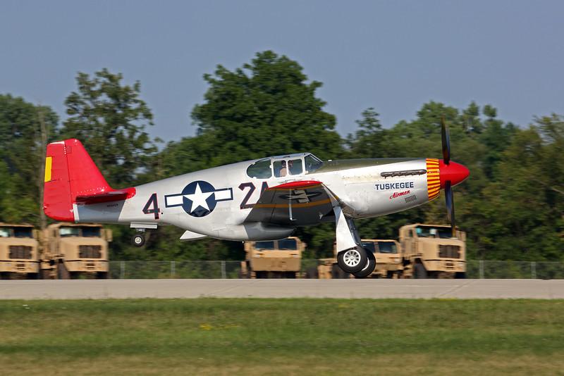 Tuskegee Airmen P-51 Mustang taking off at Oshkosh 2012