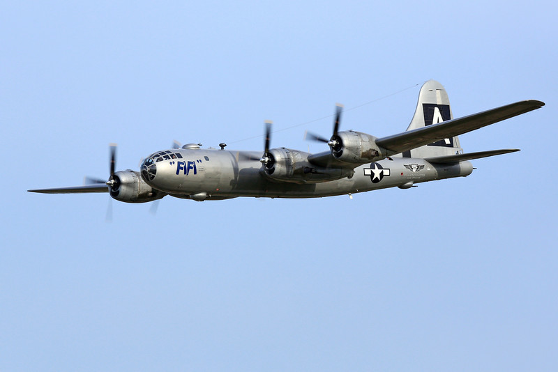 """Boeing B-29 """"FIFI"""" fly over at the 2013 EAA AirVenture in Oshkosh, Wisconsin."""