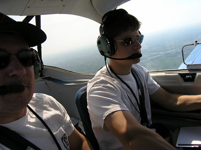Eli at the controls of ECAC's Piper Tomahawk