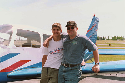 Eli and I after landing at Potsdam, NY.  Our longest cross country flight to date.  1 hour 40 minutes in the air vs 7 hours in the car!