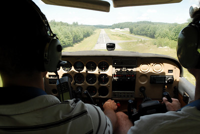 Eli at the controls as we come in to land at Minuteman airfield
