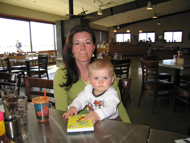 RaNae and Owen in the Warbirds Cafe