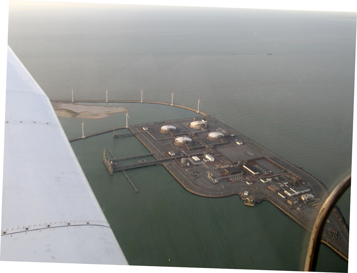 Zeebrugge gas terminal. Not marked in the AIP that it is forbidden, but I don't fly over it to be sure.