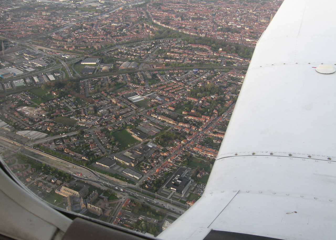 Above Brugge... can you spot the hot air balloon below?