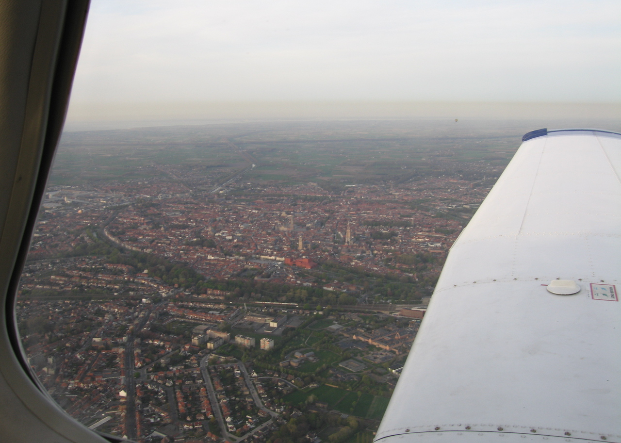 Brugge city center from 2000 feet.