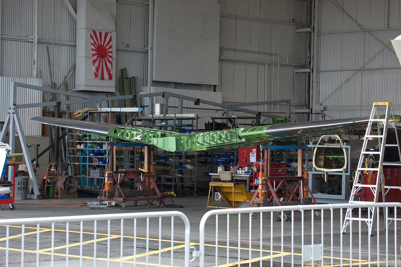 WWII Japanese Zero Mitsubishi A6M wing spaw being rebuilt.  Same company that built the 5 ME-262 replicas.