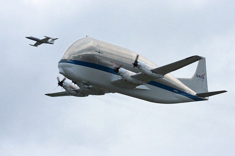 NASA Super Guppy carrying Space Shuttle mockup for Seattle museum.