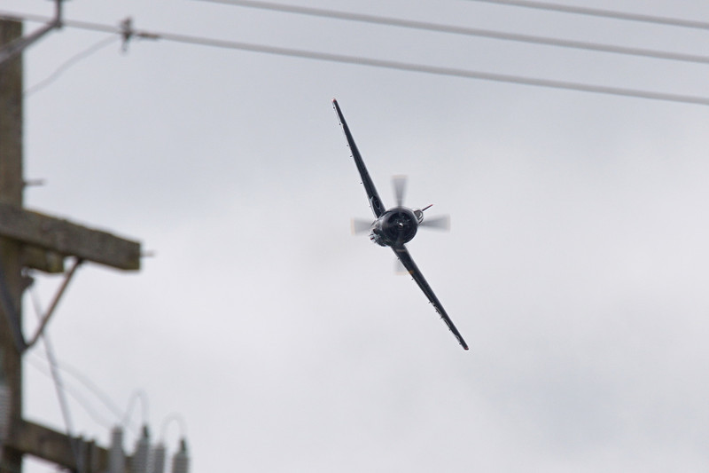 F8F Bearcat from the Historic Flight Foundation - wires.... sigh... shooting from a parking lot.