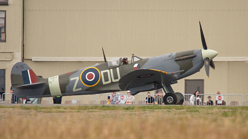 Supermarine Spitfire Mk.Vc of the FHC at Paine Field, Everett WA.  Looks like it might be John Penney in the seat today.