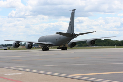 KC-135R taxiing.  If you look closely you can see that only the outboard engines are running.
