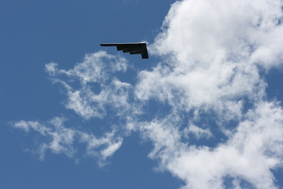 B-2 Spirit Bomber.  It did several figure 8s over the field but did not land, headed off to another airshow.