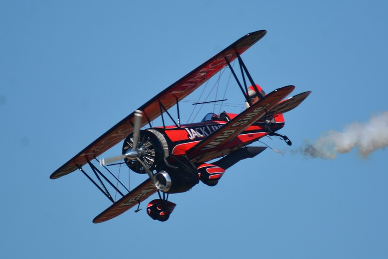 This is what I like to call a Stearman aircraft from Hell! Notice he has his propeller engine and jet engine mounted underneath.