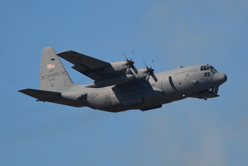 Well this aircraft wasn't part of the show but I photographed it anyway. The C-130 Hercules. <br /> <br />  It was carry the Navy's Leap Frog Parachute Team. Sorry I didn't photograph them. Why the heck jump out of a perfectly good working airplane?