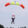 Skydivers over 60 and over 70 attempt to set New England group records, flying out of Skydive Pepperell. Skip Kniley, 72, of Columbus, Ohio, lands. (SUN/Julia Malakie)