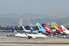 N13248<br /> United Airlines Boeing 737 Next Gen taxies at LAX with UA814 from San Francisco  (SFO) and passes an assortment of Asian carriers on the stands at Tom Bradley<br /> B-EKT / JA782A / HL7627 / VH-OEE / HL7634 /  JA741A