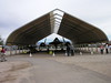 SR-71 Blackbird on loan from the Air Force who requires the canvas shelter