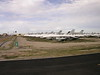 F-16 Fighters in storage .  This is the beginning of the bus tour through Davis Monthan AFB storage facility.