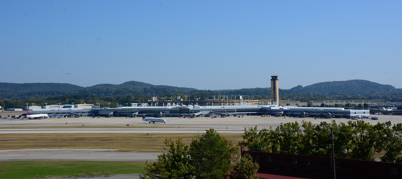 Here's a wide panoramic photo I made with the MD-80 aircraft taxing.