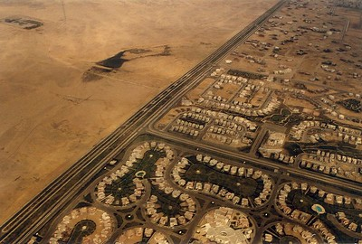 Interesting to see the difference between desert and civilization. Approach to Cairo.