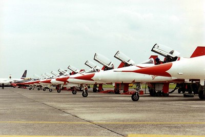 Line up of the Turkish Stars, demo team of the Turkish Air Force. EBOS 1997.