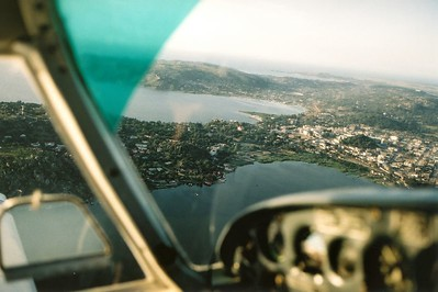 Flight over Lake Victoria, Tanzania, in a Piper Cherokee.
