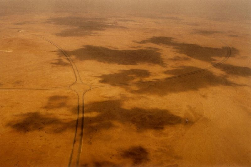 """""""On a dark desert highway, cool wind in my hair..warm smell of colitas, rising up through the air..."""" This is not California but Egypt. Picture from the cockpit while descending to Cairo."""