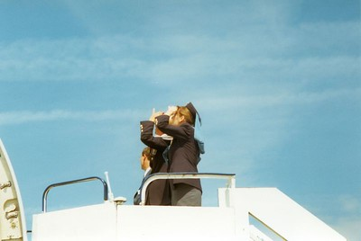 Two stewardesses of Gulf Air watching the Le Bourget Air Show of 1999.