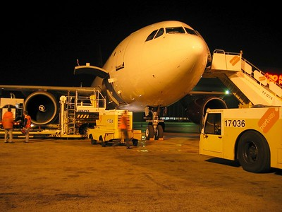 My jumpseat Airbus A310 Freighter being loaded for TNT in Lissabon.  Dedicated to everybody who keeps the airline business running while everybody else is sleeping.