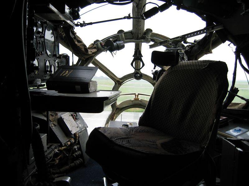 The desk of the navigator on board of an Antonov 12.