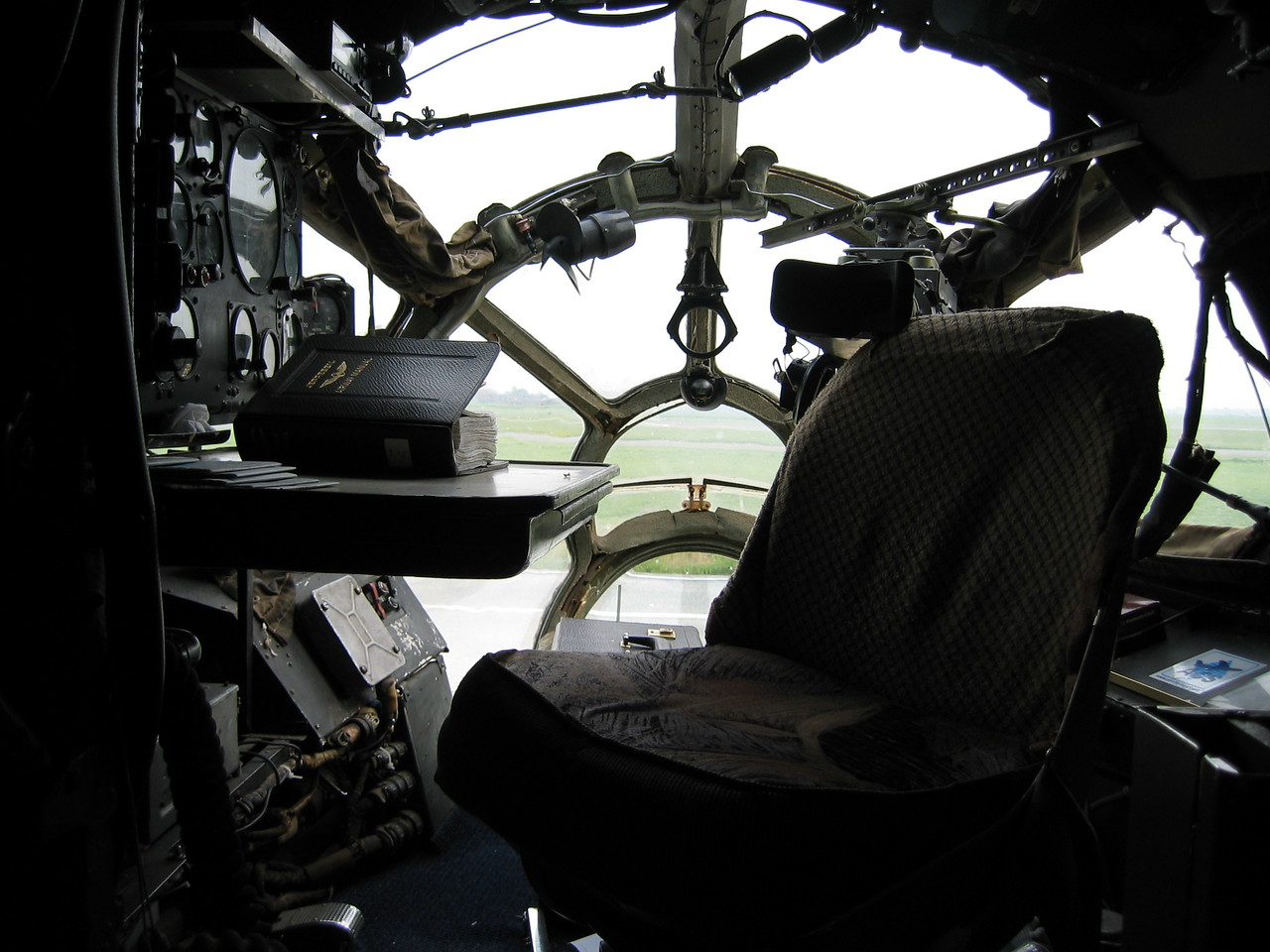 The desk of the navigator on board of an Antonov 12.