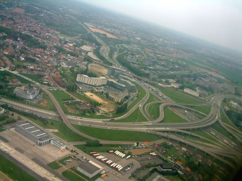 View on the Corporate Village nearby Brussels Airport after take off. The big white building in the middle is the Crown Plaza hotel.