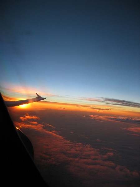 Sunrise from the cockpit of an A310 heading for Lissabon. The Airbus is currently flying in the beautiful colors of Etihad Crystal Cargo.