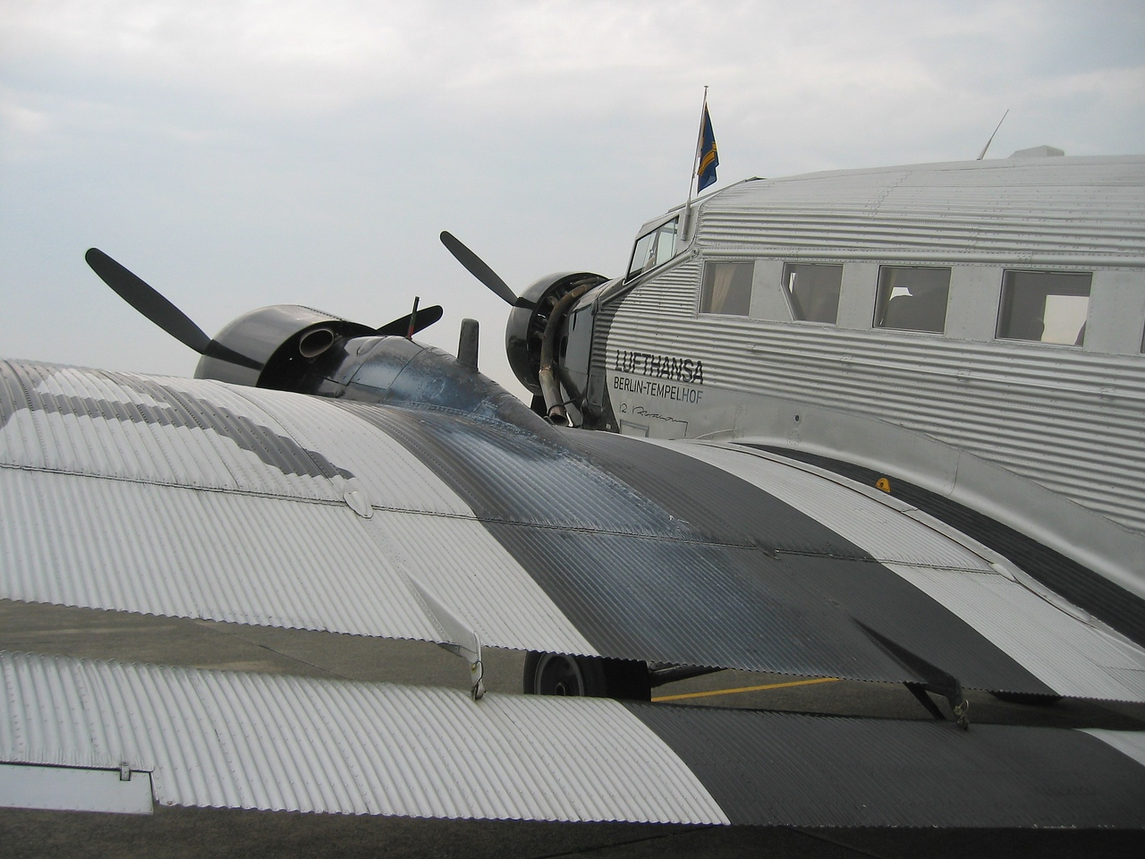 The Ju-52, aka D-AQUI. Built in 1936 and completely overhauled in 1986. This took 16 months. Now performing fun flights throughout whole Europe.