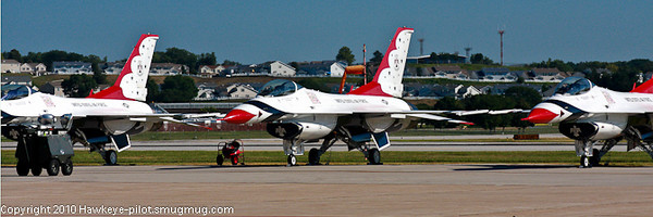 USAF Thunderbirds Display Team F-16 Falcon aircraft on display at Offutt Air Show.. This team executes high precision drills in the air.  It's always a show worth watching! Much appreciation for our service men and women for making these shows possible! Their dedication and devotion to being the best of the best is much appreciated.