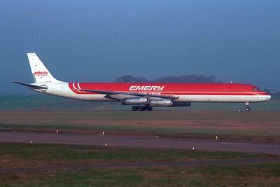 N959R. McDonnell Douglas DC-8-63CF. Emery Worldwide. Prestwick. 1980`s.