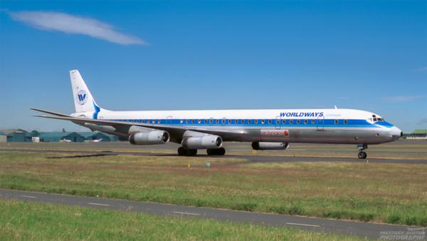 C-FCPP. Douglas DC-8-63. Worldways. Prestwick. 1980`s.