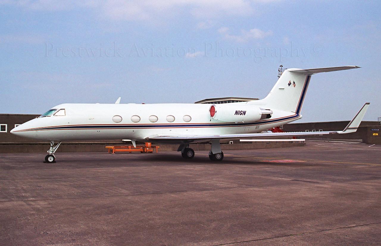 N1GN. Gulfstream Aerospace Gulfstream IV-SP. Private. Prestwick. 1990`s.<br /> <br /> Negative scan.