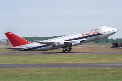 N602US. Boeing 747-151. Northwest. Prestwick. 1980`s.