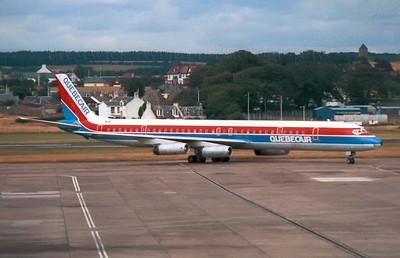 C-GQBF. McDonnell Douglas DC-8-63. Quebecair. Prestwick.1980`s.  Negative scan.
