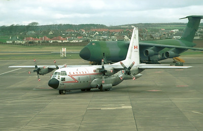 130326. Lockheed CC-130E Hercules. Canadian Armed Forces. Prestwick. 1980`s.  Negative scan.