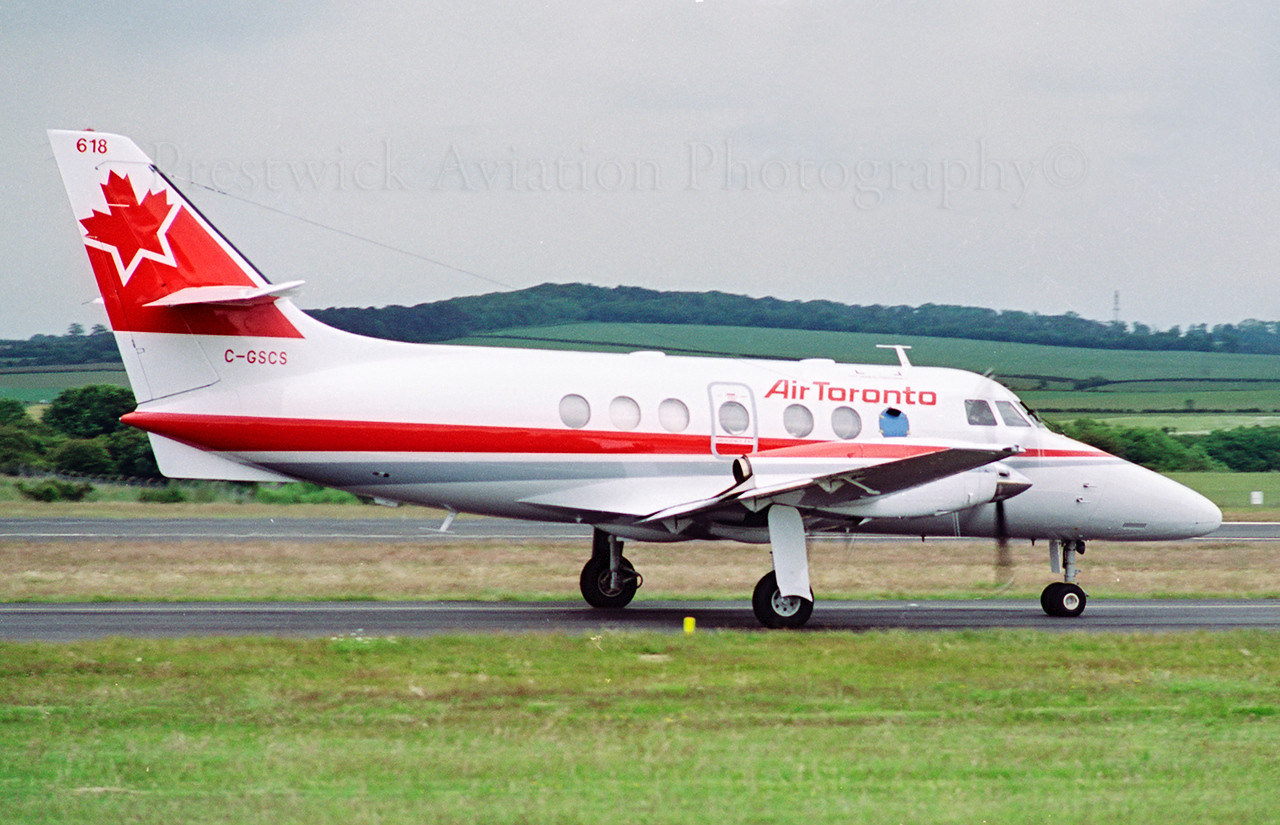 C-GSCS. British Aerospace Jetstream 31. Air Toronto. Prestwick. 1990`s.<br /> <br /> Delivery flight.<br /> Negative scan.