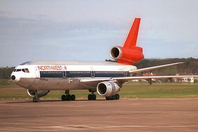 N145US. McDonnell Douglas DC-10-40. Northwest. Prestwick. 1990`s.